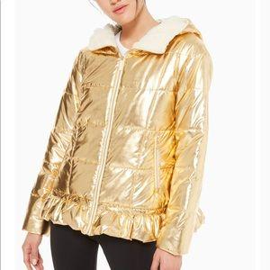 Kate Spade gold metallic puffer jacket